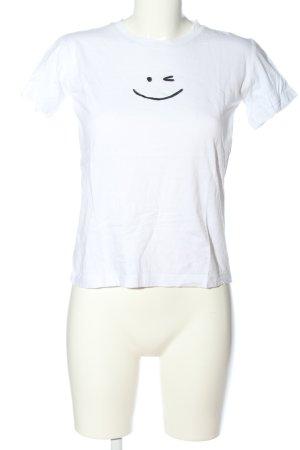 Topshop T-shirt bianco Stampa a tema stile casual