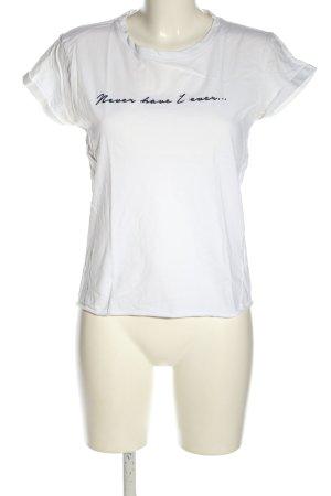 Topshop T-Shirt weiß-blau Schriftzug gestickt Casual-Look