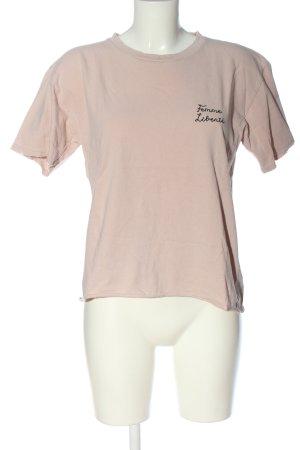 Topshop T-Shirt creme-schwarz Schriftzug gestickt Casual-Look