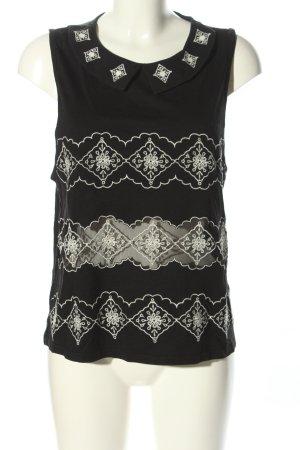 Topshop ärmellose Bluse schwarz-weiß grafisches Muster Casual-Look