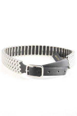 Topshop Waist Belt silver-colored-black wet-look