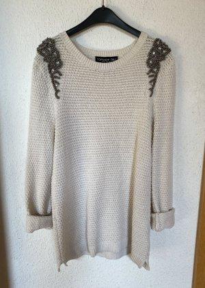 Topshop Tall Strickpullover Pullover Jumper Weiß Creme 38 M Glitzer Stickerei Blogger Boutique