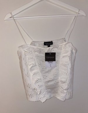 Topshop Frill Top white