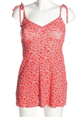 Topshop Trägertop rot-weiß Blumenmuster Casual-Look