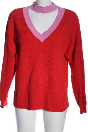 Topshop V-Ausschnitt-Pullover rot-pink Casual-Look