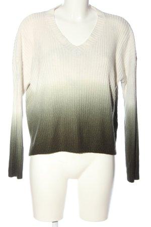 Topshop V-Ausschnitt-Pullover weiß-schwarz Farbverlauf Casual-Look