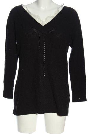 Topshop V-Ausschnitt-Pullover schwarz Casual-Look