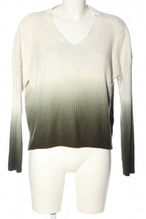 Topshop V-Ausschnitt-Pullover weiß-braun Farbverlauf Casual-Look