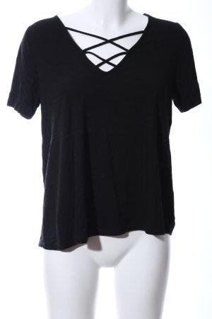 Topshop T-shirt col en V noir style décontracté