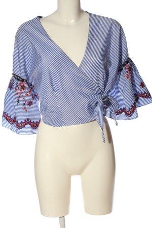 Topshop Wraparound Blouse white-blue allover print elegant
