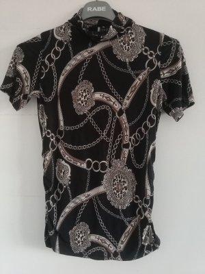 Topzustand: Extravagant gemustertes Shirt, weich auf der Hazlt, schmaler Stehkragen,Gr.36