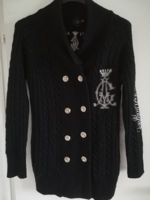 Christian Audigier Coarse Knitted Jacket black-silver-colored