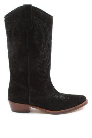 Toral Boots western noir motif abstrait élégant