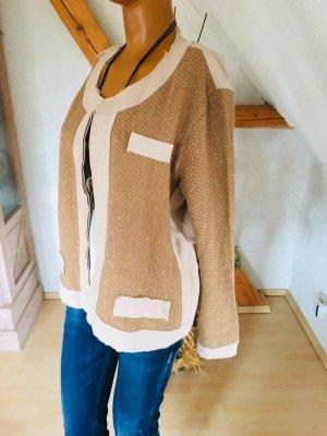 Torelli Italy Style Jacke beige ungesäumte Kanten Strickeinsätze gold Gr L
