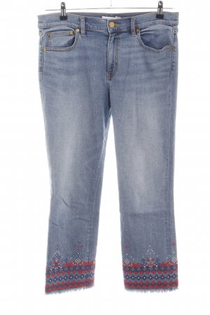 Tory Burch 7/8 Jeans blau-rot grafisches Muster Casual-Look