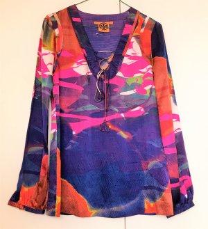 * TORY BURCH * BLUSE TUNIKA 100% SEIDE Batik bunt blau orange  pink Gr XS 34