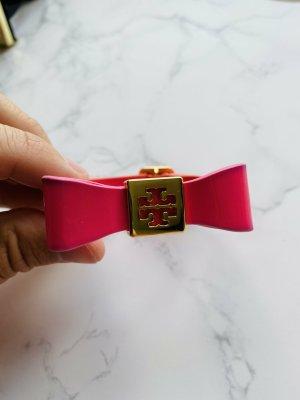 TORY BURCH | Bow Bracelet Leder Armband mit 16 Karat Gold Logo