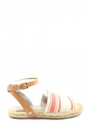 Tory Burch Espadrille Sandals natural white-red striped pattern casual look