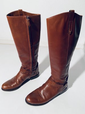 Tory Burch Zipper Booties cognac-coloured-black leather