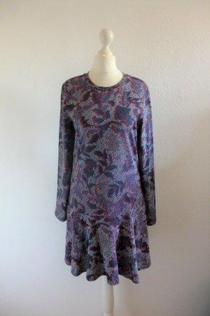 Tory Burch Langarm Kleid kurz Falten Muster blau rot Gr. S 36