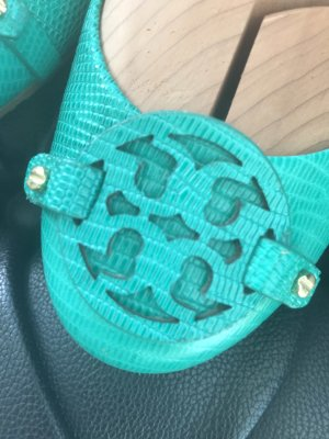 Tory Burch Ballerinas with Toecap green leather
