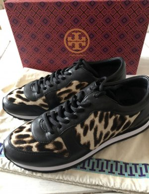Tory Burch Lace-Up Sneaker black-light brown leather