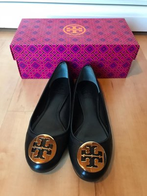 Tory Burch Ballerinas with Toecap black-gold-colored leather