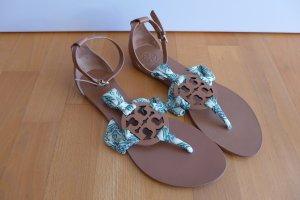 Tory Burch Schuhe Sandale Sandalette flach Leder cognac Stoff Gr. 8,5 39 40 NEU
