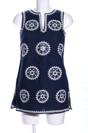 Tory Burch schulterfreies Kleid blau-weiß abstraktes Muster Casual-Look