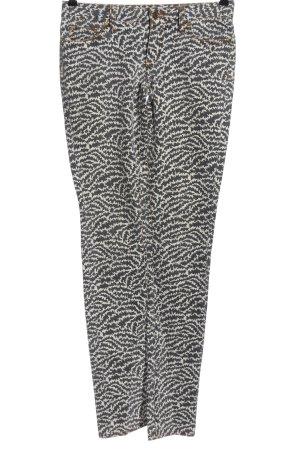 Tory Burch Slim Jeans weiß-schwarz abstraktes Muster Casual-Look