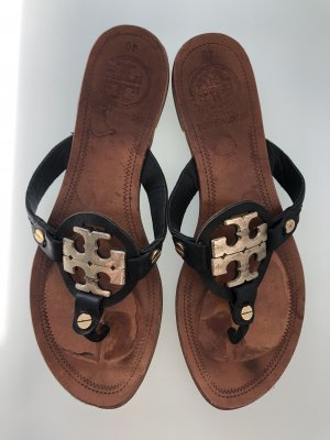 Tory Burch Toe-Post sandals black-brown leather