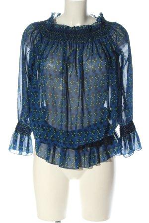 Tory Burch Transparenz-Bluse blau-grün abstraktes Muster Casual-Look