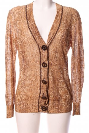 Tory Burch V-Ausschnitt-Pullover braun-creme Allover-Druck Elegant