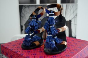 Tory Burch Strapped High-Heeled Sandals blue-beige leather