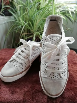 Tory Burch White Perforated Leather Daisy Lace Up