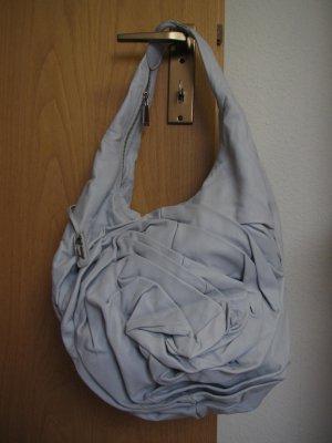 Tosca Blu – hellgraue Hobo-Bag aus superweichem Leder mit Falten-Applikation