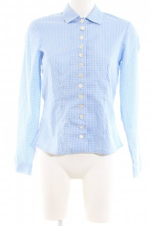 Tostmann Folkloristische hemd blauw-wit geruite print zakelijke stijl