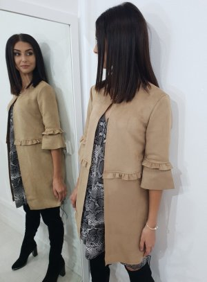 Blazer in pelle beige-color cammello