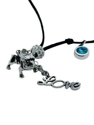 Totalausverkauf! Velourlederband (vegan) mit Französischer Bulldogge und Swarovskikristall