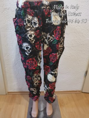Made in Italy Pantalon large noir-rouge