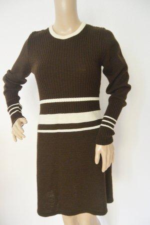 Vestito di lana marrone-nero-marrone