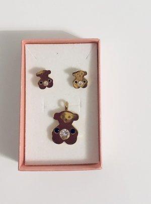 TOUS Ohrringe+Anhänger vergoldet Farbe mit Steinen