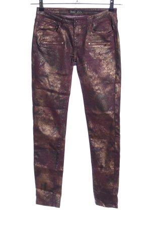 Toxik3 Jeggings rot-bronzefarben abstraktes Muster extravaganter Stil