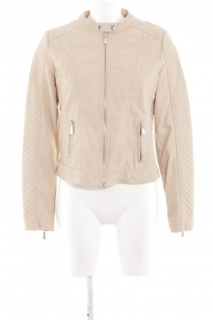 Toxik3 Faux Leather Jacket cream quilting pattern casual look