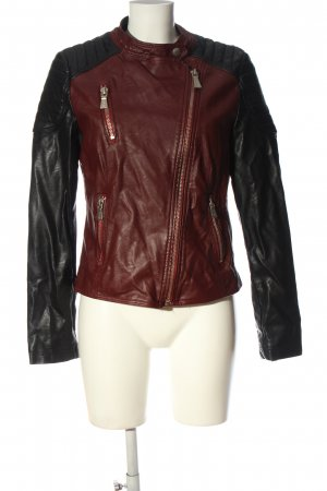 Toxik3 Giacca in ecopelle rosso-nero stile casual