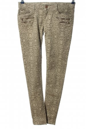 Toxik3 Drainpipe Trousers cream allover print casual look