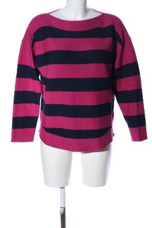 Strickpullover pink-schwarz Streifenmuster Casual-Look