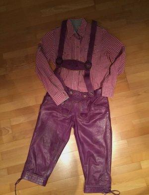 Country Maddox Tradycyjne skórzane spodnie purpurowy-fiolet