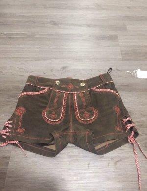 Lekra Pantalone in pelle tradizionale marrone-rosso