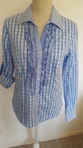 Krüger Folkloristische hemd wit-lichtblauw